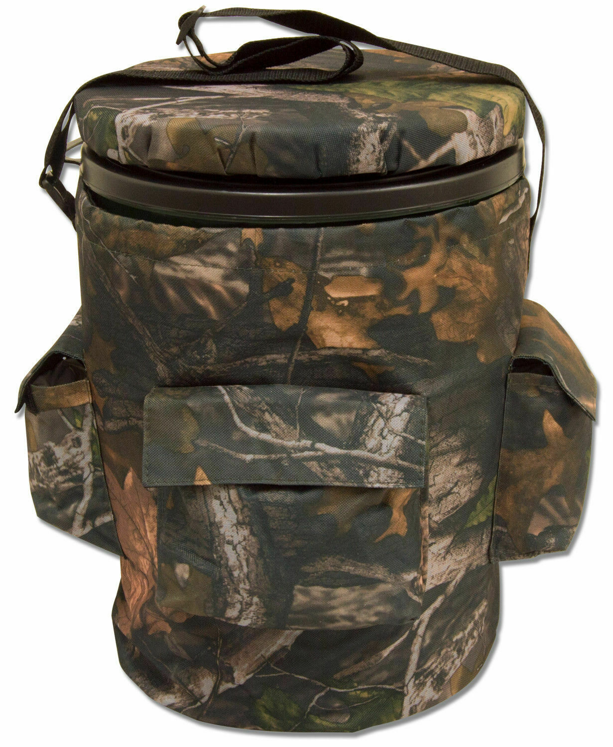 Camouflage Swivel Hunting/Fishing Bucket Seat With Storage Bag